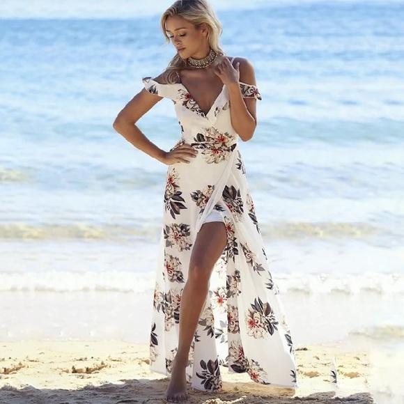 0e599b5668d Dresses | Love Beach White Floral Off Shoulder Dress | Poshmark